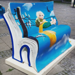 Book bench near Palace of Culture and Science