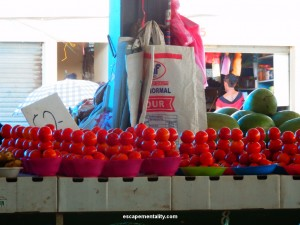 Tomato stacks in Nadi Market