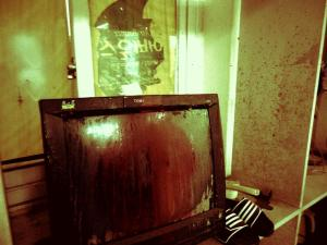 Paint-spattered TV